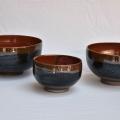 trio de bol orangé et brun