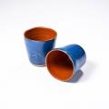 tasses expresso oranges et bleues